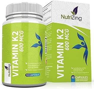 Vitamina K2 Alta resistencia 600 mcg | 90 Vegetarian Cápsulas | Promueve el mantenimiento de los huesos normales | Vitamina K Suplemento para hombres y mujeres | A base de Natto fermentada por NutriZing