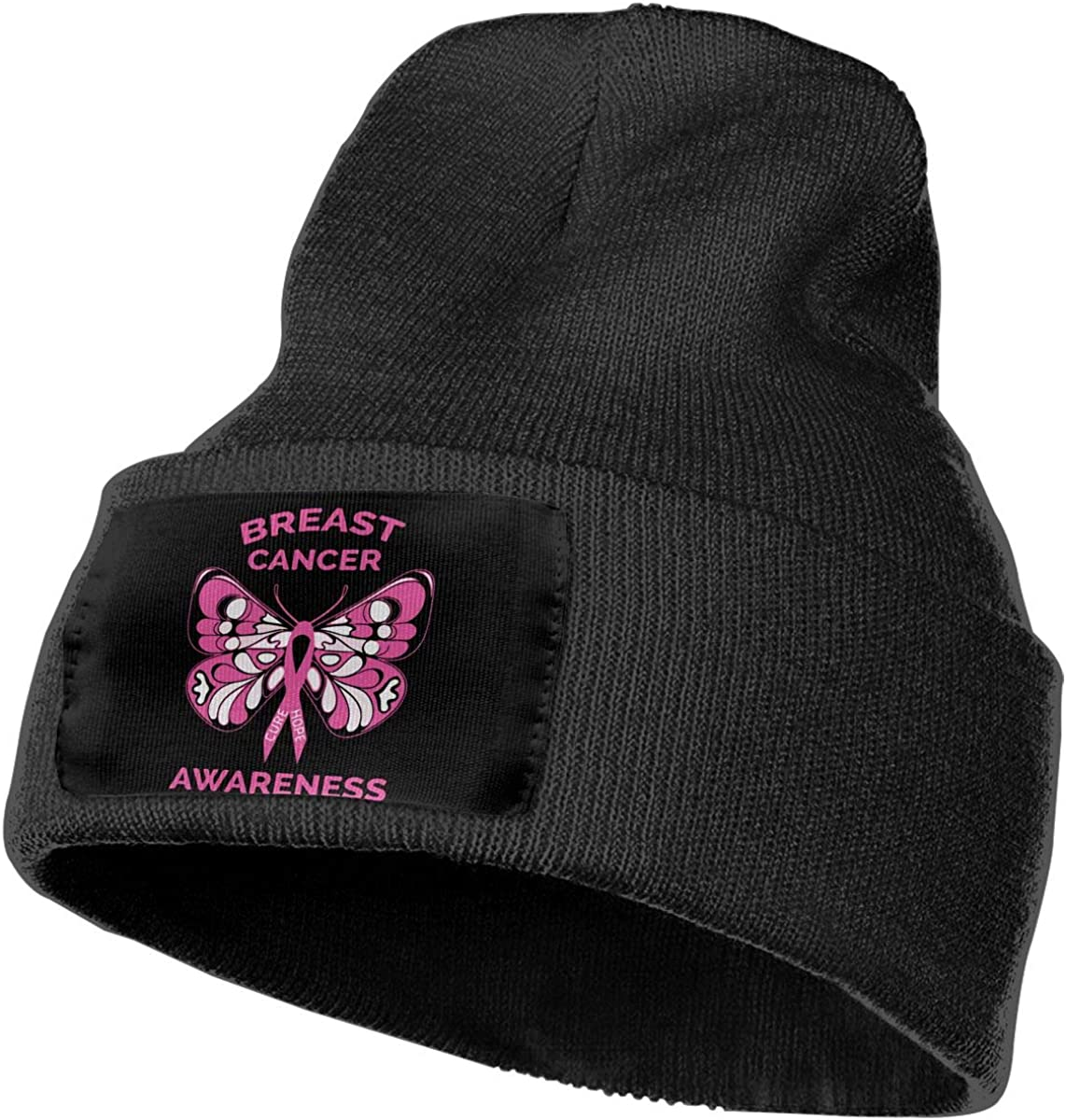 Breast Cancer Awareness Butterfly Pink Ribbon Ski Cap Men /& Women Knitting Hats Stretchy /& Soft Beanie