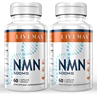 NMN Nicotinamide Mononucleotide Supplement, NAD Booster Supplement, Vitamin B3 Family, 2 Pack 120 Capsules - 500mg NMN…