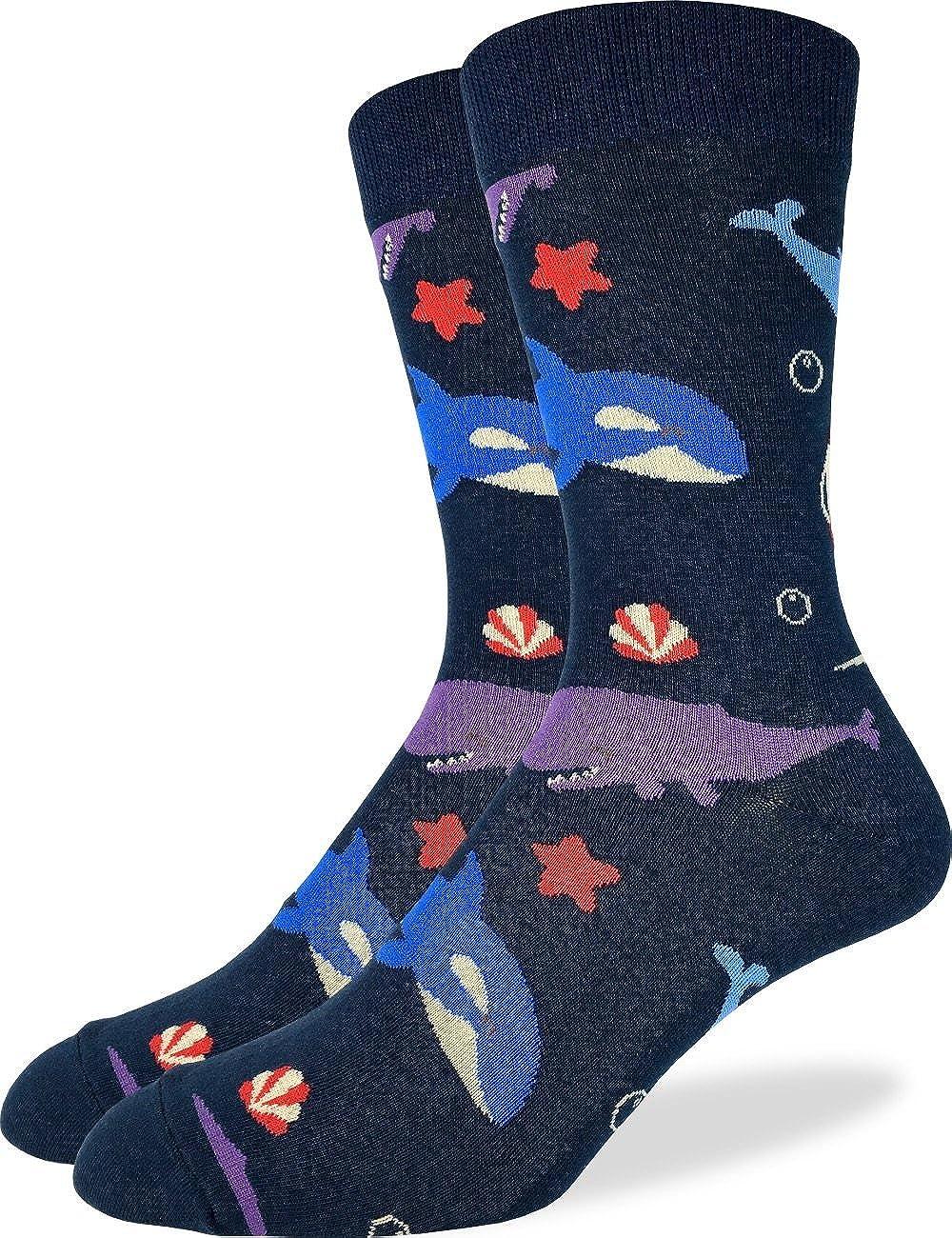 Good Luck Sock Men's Whales Crew Socks - Blue, Shoe Size 7-12 1363