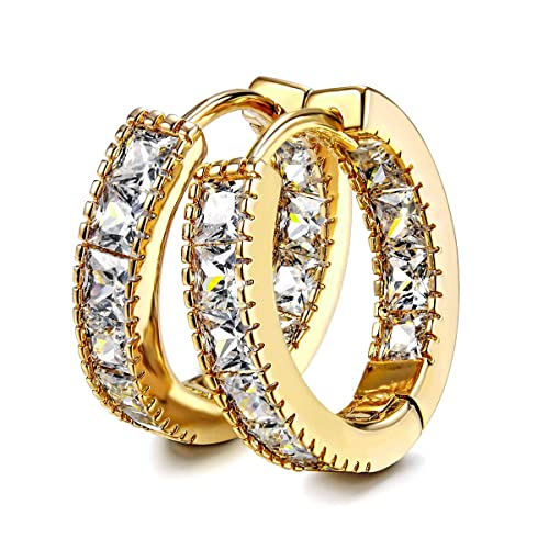 c6db3e15d3745 Kainier CZ Hoop Earrings with Cushion Cut Cubic Zirconia 14K White Gold  Plated Earrings Wonderful Gift Choice for Girls Women and Men