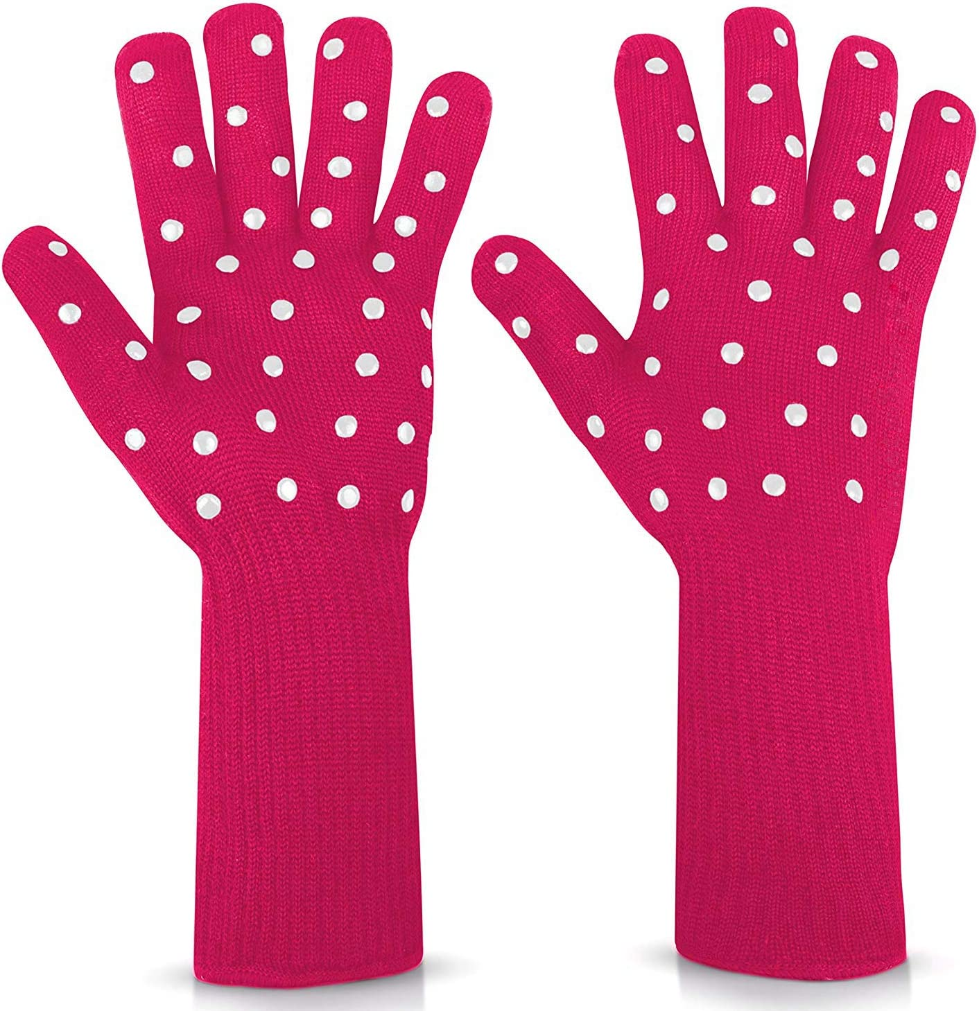 N/X Women BBQ Grilling Gloves Oven Gloves 2 Pack Heat Resistant Long Sleeve Oven Mitts Fireplace Baking Gloves Cut Resistant Cooking Gloves with Silicone Non-Slip (Fuchsia Dot)
