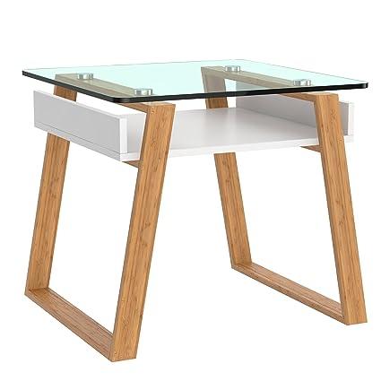 bonVIVO Pablo, Moderner Beistelltisch Für Wohnzimmer, Designer  Beistelltisch Mit Glas-Platte Und Holzgestell, Beistelltisch Eckig Mit  Weiß-Lackierter ...