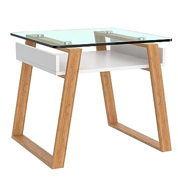 Bonvivo Petite Table Basse D Appoint Pablo Table Basse Tendance Table D Appoint Pour Salon Jardin Bureau Table Bout De Canape En Verre Et Bois