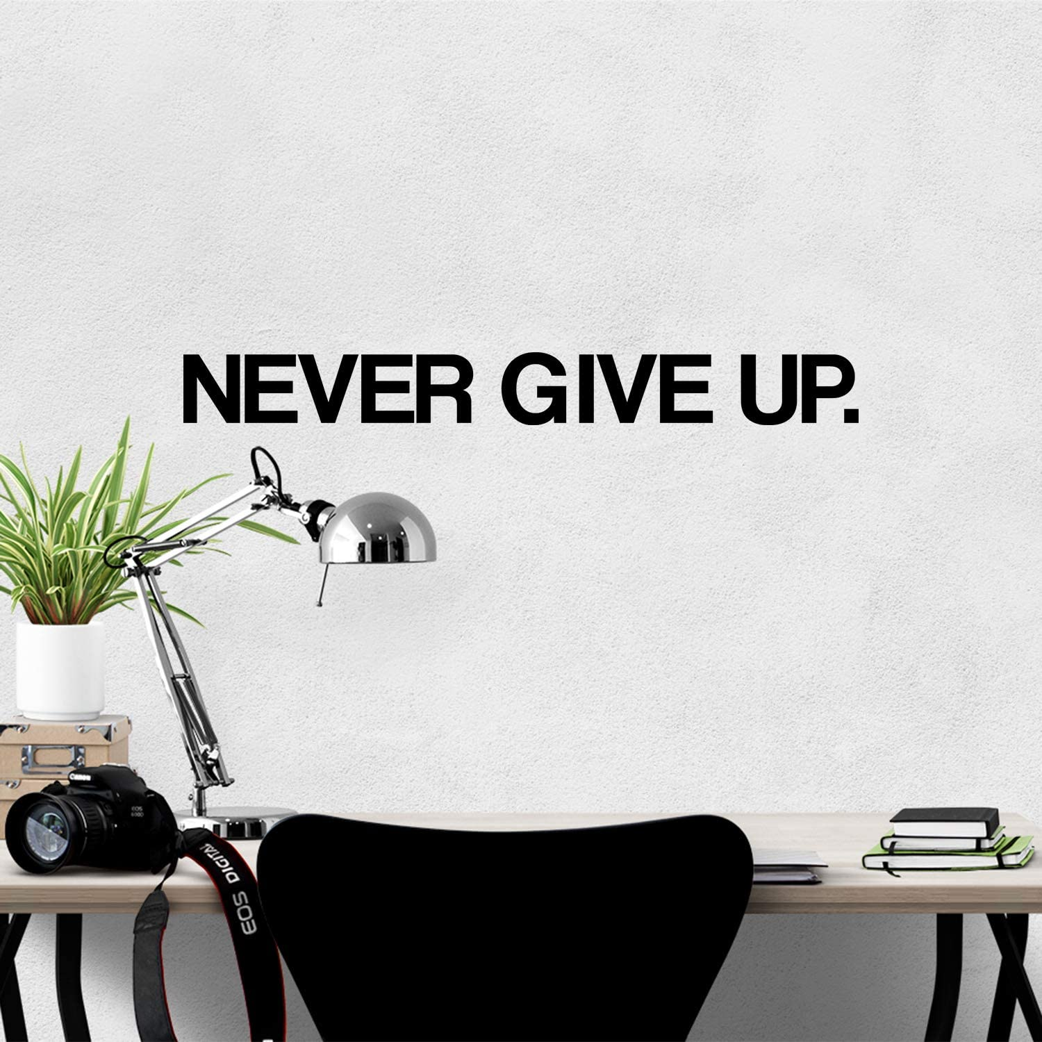 My Vinyl Story Never GIVE UP Wall Sticker Motivational Large Gym Wall Decal Quote for Home Gym Workout Motivational Wall Art Decor Vinyl Removable Sticker