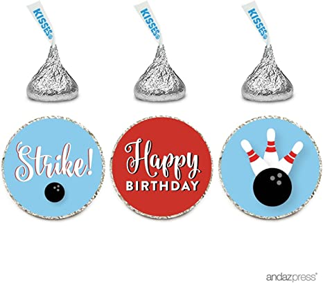 108 Personalized Hershey Kiss Birthday Party Sticker Labels Bowling Red Blue