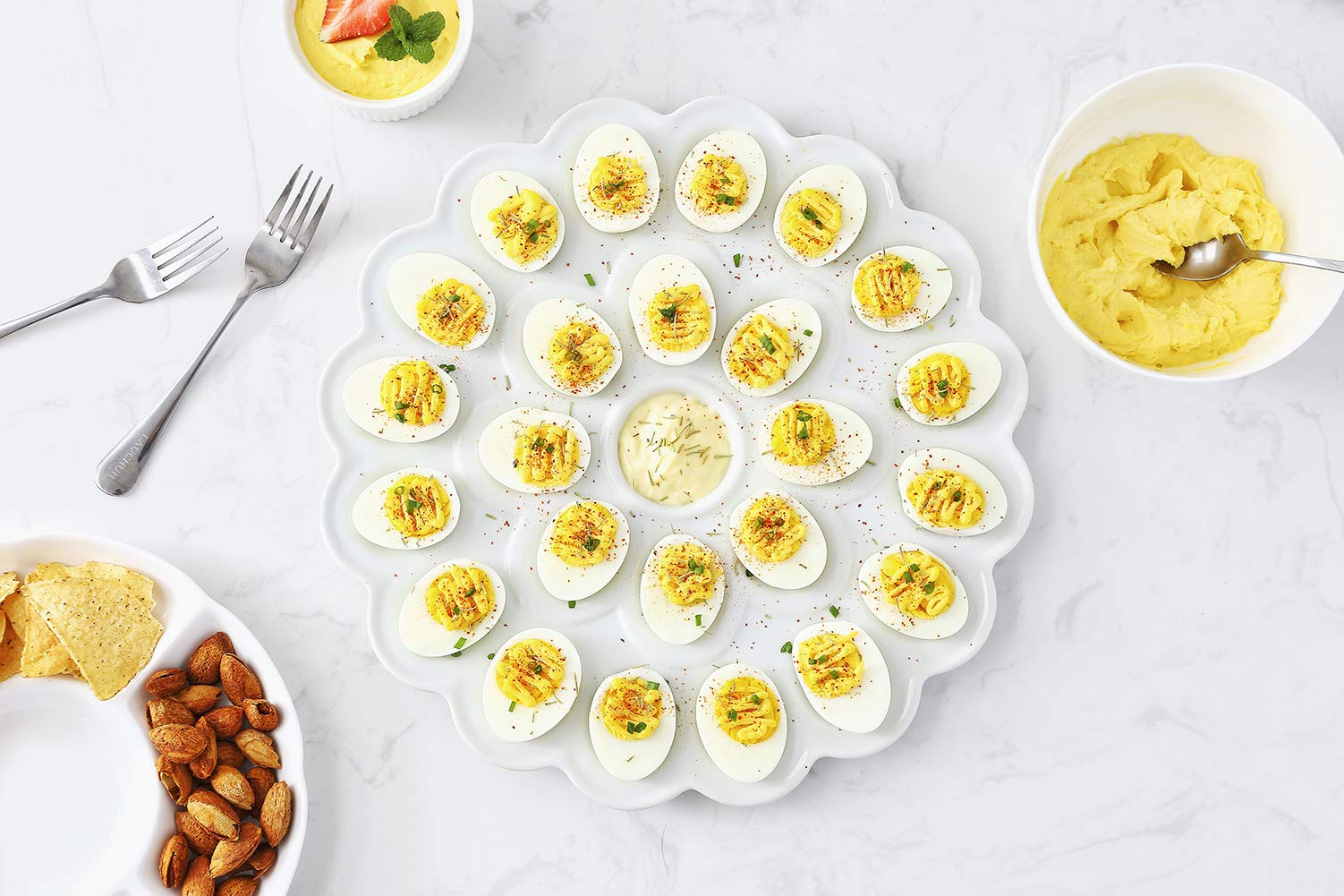 13.5-inch Porcelain Deviled Egg Tray/Dish White Ceramic Egg Platter with 25-Compartment by LAUCHUH (Image #4)