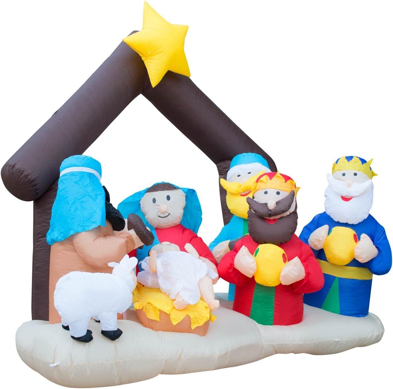 Amazon.com: holidayana Belén Navidad inflable gigante 6.5 ft ...