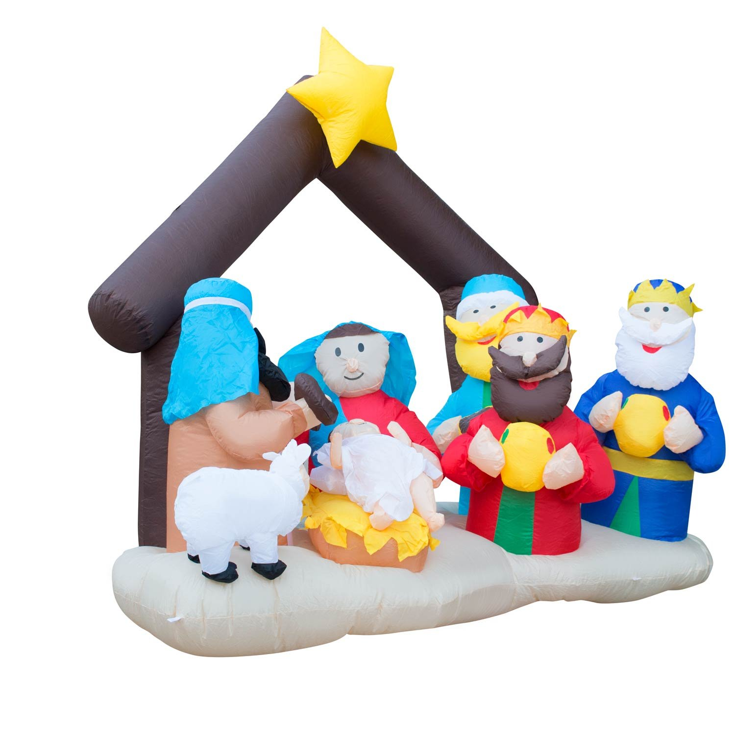 Holidayana Christmas Inflatable Giant 6.5 Ft. Nativity Scene Inflatable Featuring Lighted Interior / Airblown Inflatable Christmas Decoration With Built In Fan And Anchor Ropes by Holidayana (Image #3)
