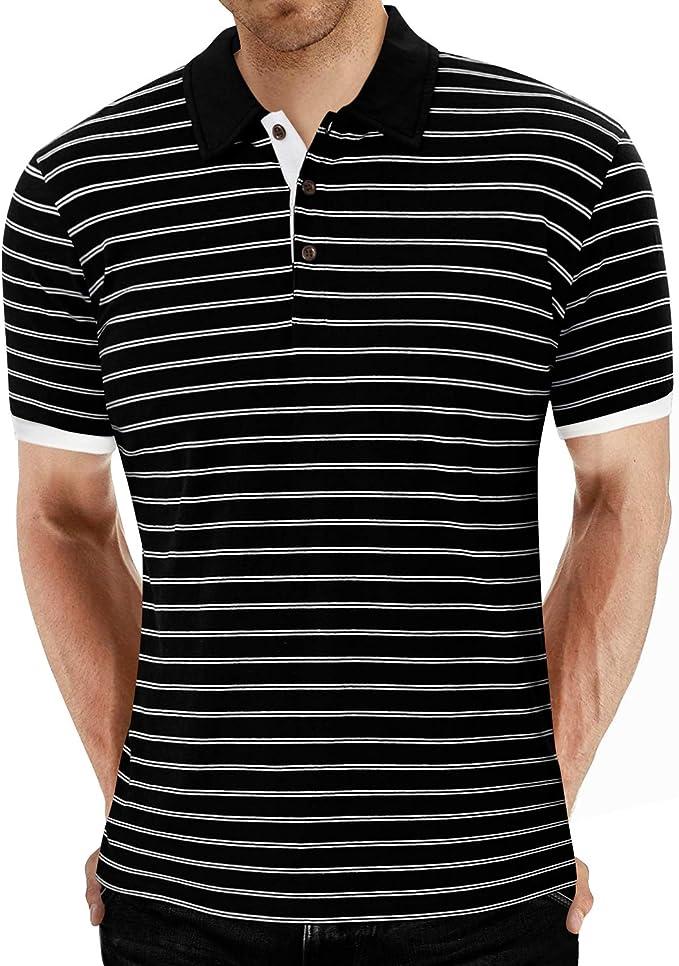 MLANM Mens Casual Slim Fit Basic Henley Short//Long Sleeve Fashion T-Shirt