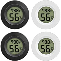 Gesh 4 st digital hygrometer termometer hygrometer Celsius inomhustermometer med LCD-skärm för hem (vit och svart)
