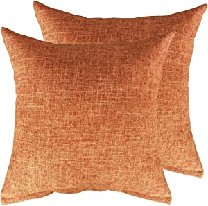 MKLFBT Pack of 2Farmhouse Decor Linen Couch Pillow Covers Solid Burlap Fall Throw Pillow Covers 18 x 18 Decorative Rustic Yellow Orange Cushion Cases for Sofa Outdoor Camping