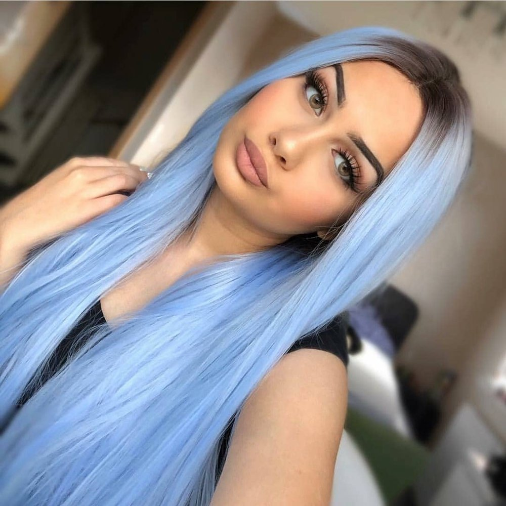 QD-Udreamy Long Natural Straight Heat Resistant Soft Fiber Hair Wigs Blue Hair for Women Synthetic Lace Front Wigs for Party Wear 24 Inch by QD-Udreamy