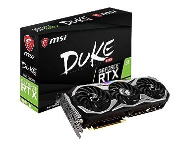 MSI GeForce RTX 2080 Ti DUKE 11G OC - Tarjeta gráfica Enthusiast (PCI-E 3.0, Torx Fan 2.0, Zero FROZR, 11 GB GDDR6, 352-bit, 4352 Core Units, 1350 Mhz ...