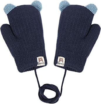 Kids Winter Knitted Ski Gloves Boys Girls Warm Fleece Lined Stretch Magic Gloves