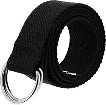 ITIEZY Cintur/ón de tela para hombre unisex con doble anilla en D Cintur/ón Lienzo Web Cintura con Negro Doble Correa de hebilla