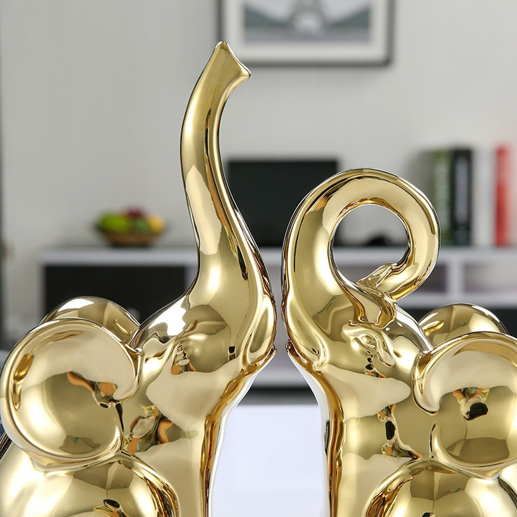 Cabinet in porcellana ricchezza Feng Shui Elephant ornamenti decorato europea armadietto del vino Crafts Home Decoration - oro