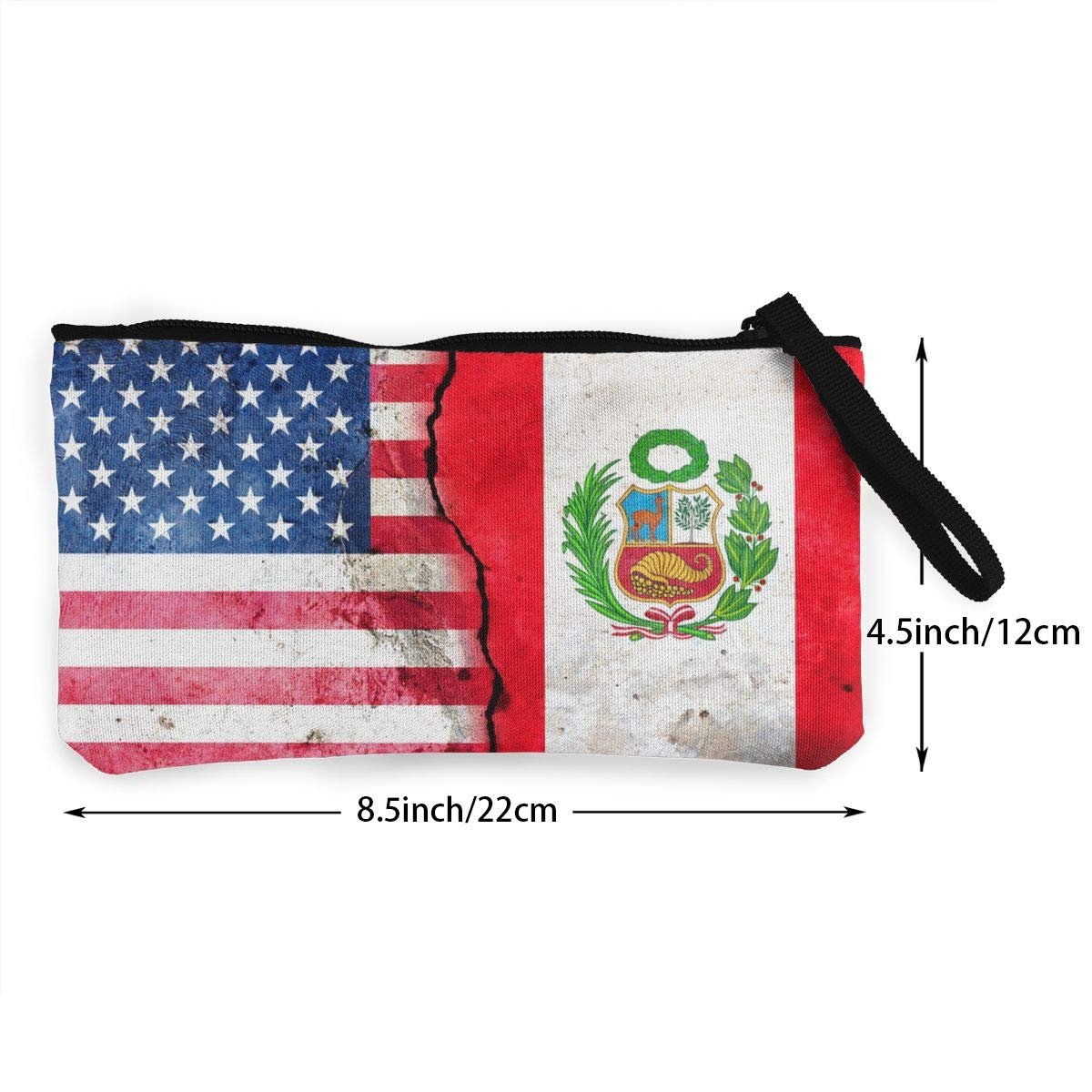 USA Peru Flag Pattern Canvas Change Coin Purse Assorted Change Cash Bag With Zip