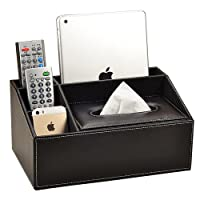 Vancore Boîte de rangement organisateur 4compartiments en cuir PU pour télécommande et fournitures de bureau
