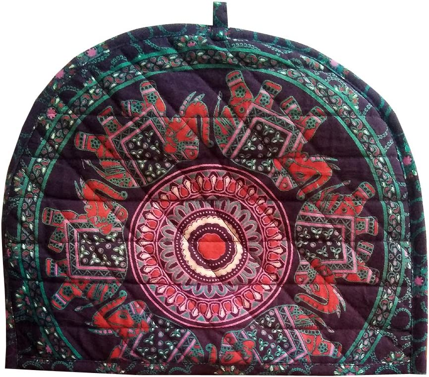 Shubhlaxmifashion Indian Cotton Mandala Purple Color Elephant Printed Tea Cosy Abstract Tea Pot D/écor Cover Traditional Tea Quilt Floral Warmer Tea Cozies Insulated Gift