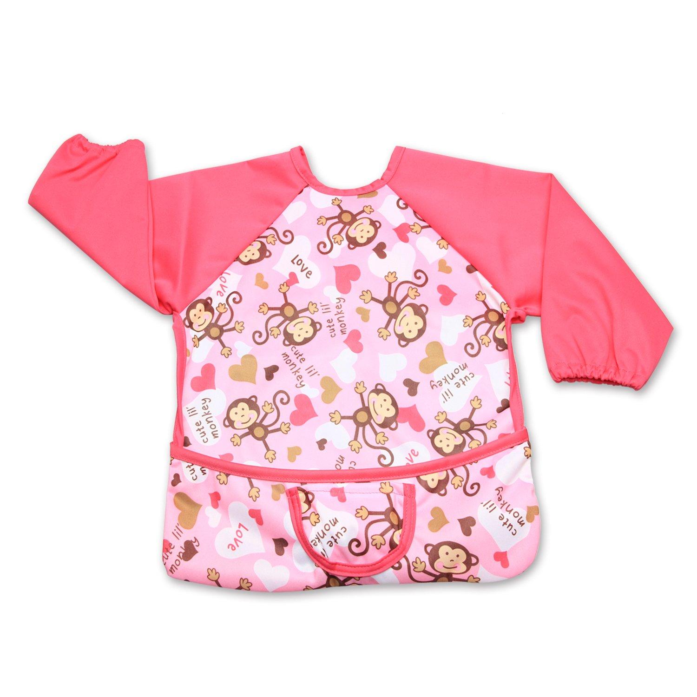 Luxja Baby Waterproof Sleeved Bib, Long Sleeve Bib for Toddler (6-24 Months), Gray Chevron