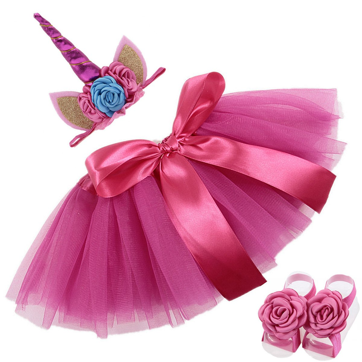 COUXILY Unicorn Solid Tutu Skirt with Unicorn Horn Headband and Pearl Flower for Baby Girls Birthday Shot
