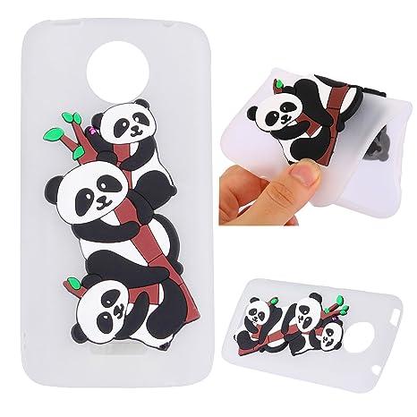 Qiaogle Teléfono Caso - Funda de TPU Silicona Carcasa Case Cover para Motorola Moto C Plus (5.0 Pulgadas) - YB82 / Cartoon Panda (Blanco)