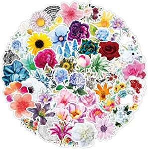 100pcs Flower Stickers for Water Bottle, Cute, Vinyl, Aesthetic, Trend, Waterproof Stickers and Decals for Laptop Scrapbook Phone,Flower Gifts for Adults Women Teens Girls