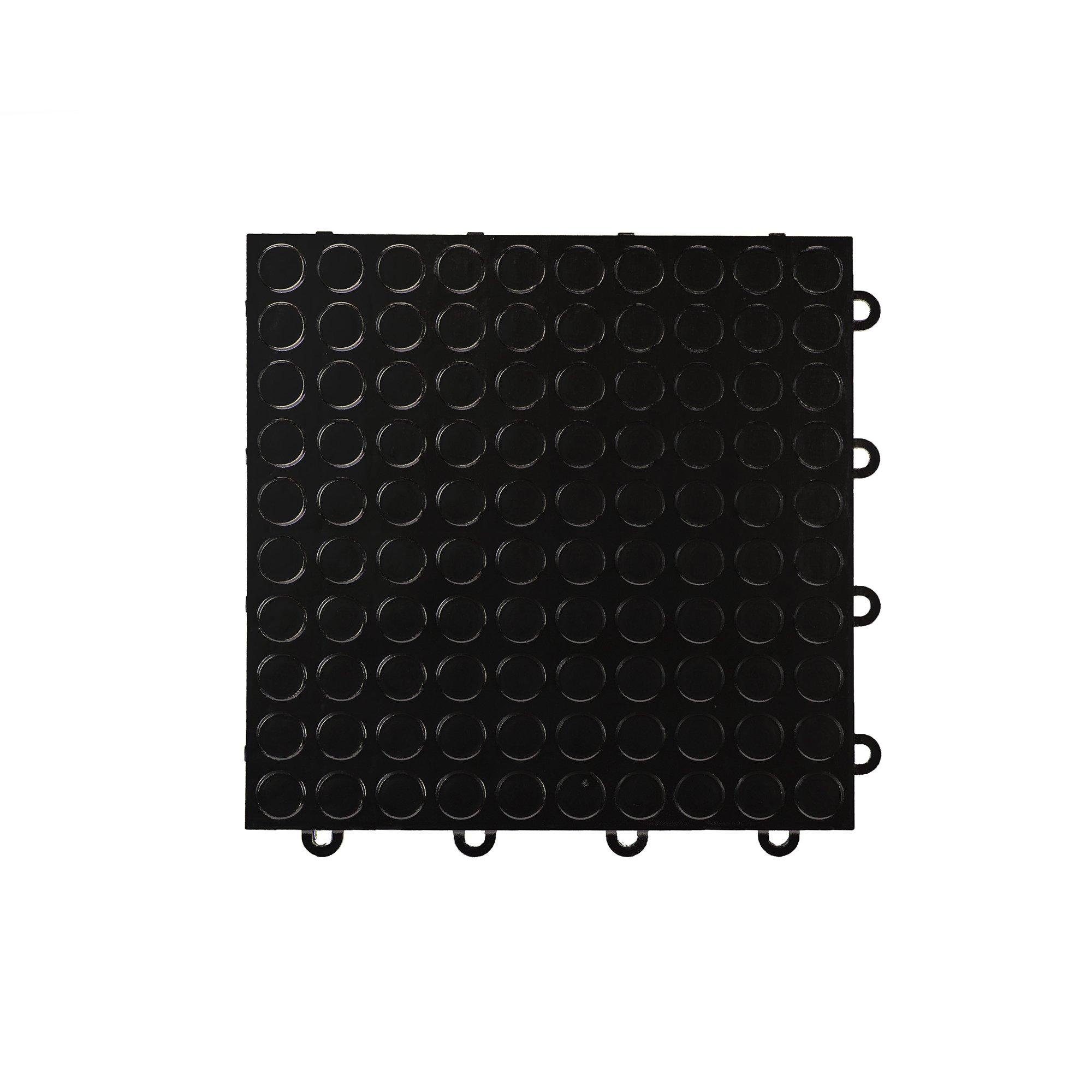 IncStores Coin Nitro Garage Tiles 12''x12'' Interlocking Garage Flooring (Black - 52-12''x12'' Tiles)