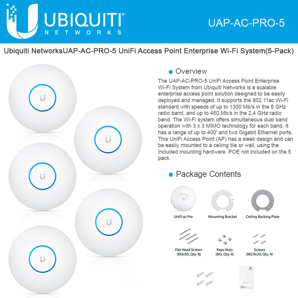 Ubiquiti Networks 2,4/5Ghz 450/1300Mbps 122m 5Pk Indoor/Outdoor, UAP-AC-PRO_5 (Indoor/Outdoor 196.7 x 35 mm) by Ubiquiti Networks
