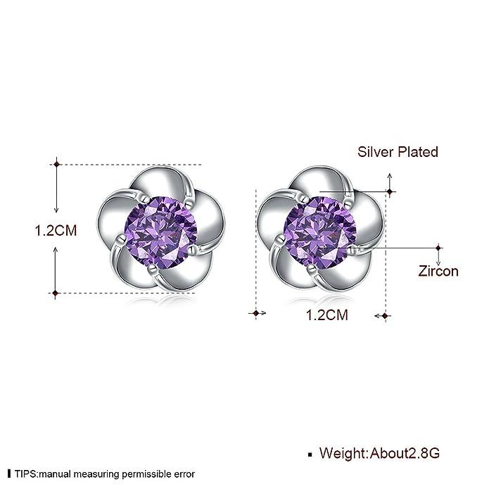 Daesar 1 Paar Ohrringe für Damen Kupfer Blume Lila Farbe Ohrstecker ...