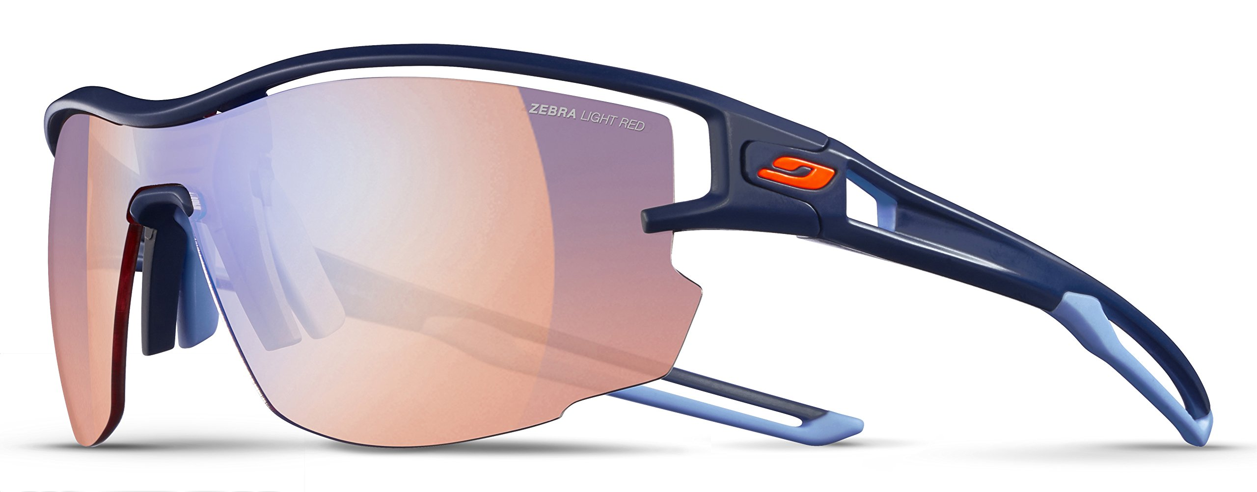 Julbo Aero Performance Sunglasses - REACTIV Zebra Light Red - Dark Blue/Dark Blue