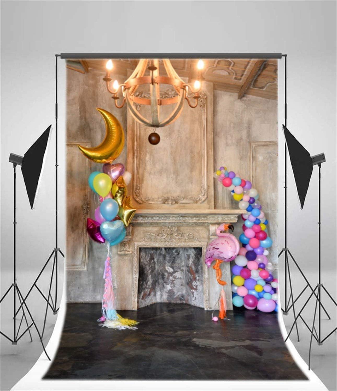 5x7ft Birthday Backdrop Balloon Retro Droplight Mantel Photography Background Baby Kid Girl Infant Artistic Portrait Fireplace Indoor Decoration Photo Studio Props Video Drop Vinyl Wallpaper