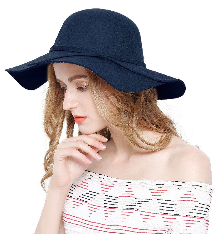 Lovful Women 100% Wool Wide Brim Cloche Fedora Floppy hat Cap,Navy by Lovful (Image #1)
