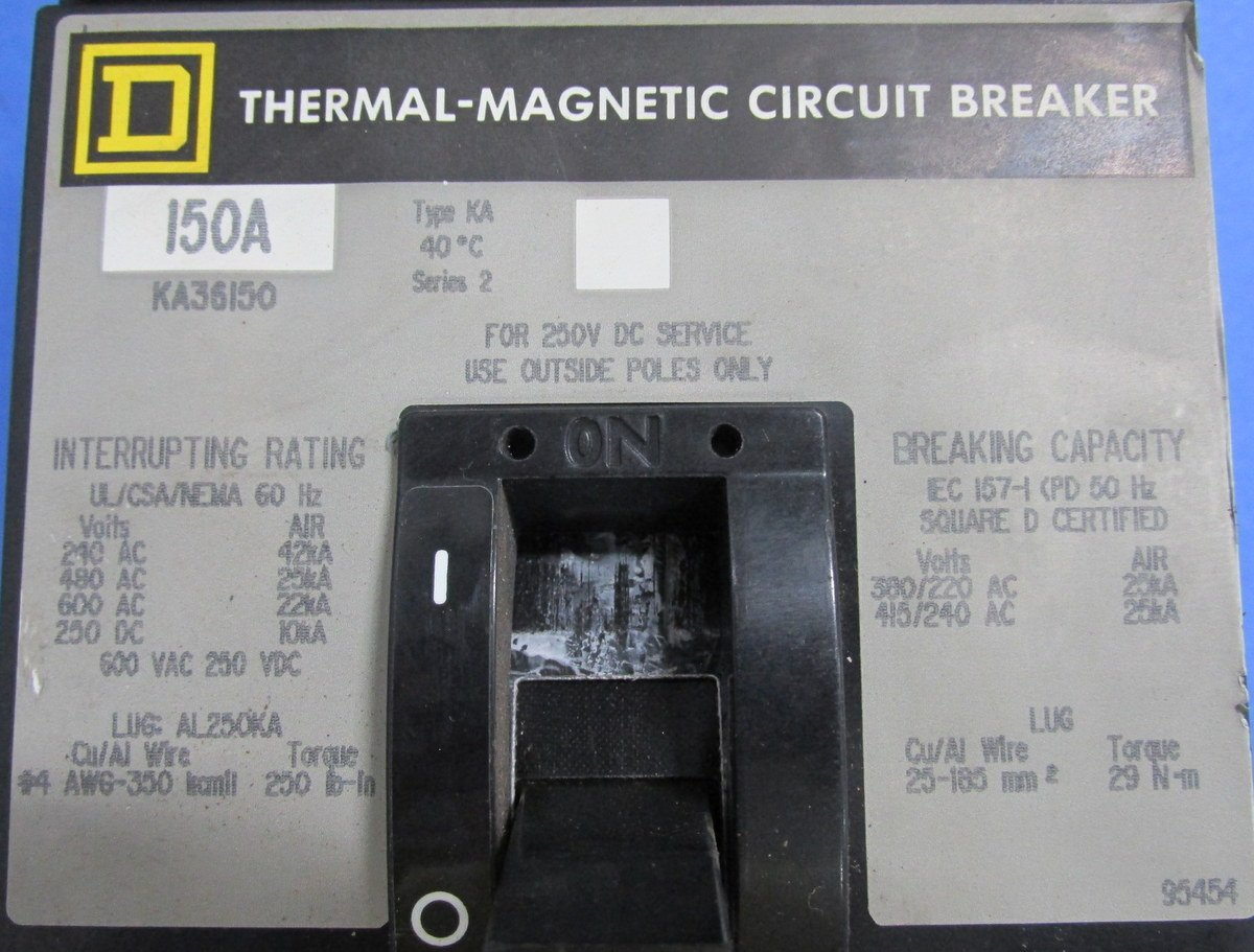 Square D Thermal Magnetic Circuit Breaker 150a Ka36150 Breakers Some Use A Industrial Scientific