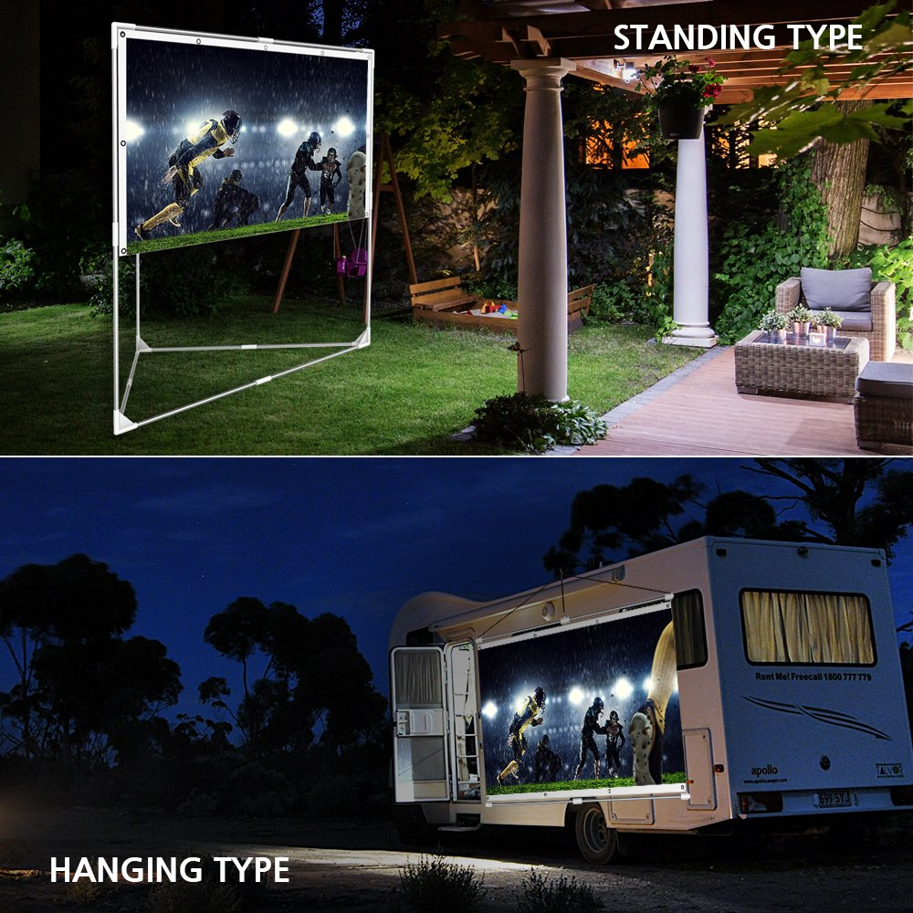 JaeilPLM 100-Inch 2-in-1 Portable Projector Screen Gaming Outdoor Indoor Compatible with Triangle Stand or Hanging Design Movie Projection for Home Theater Office