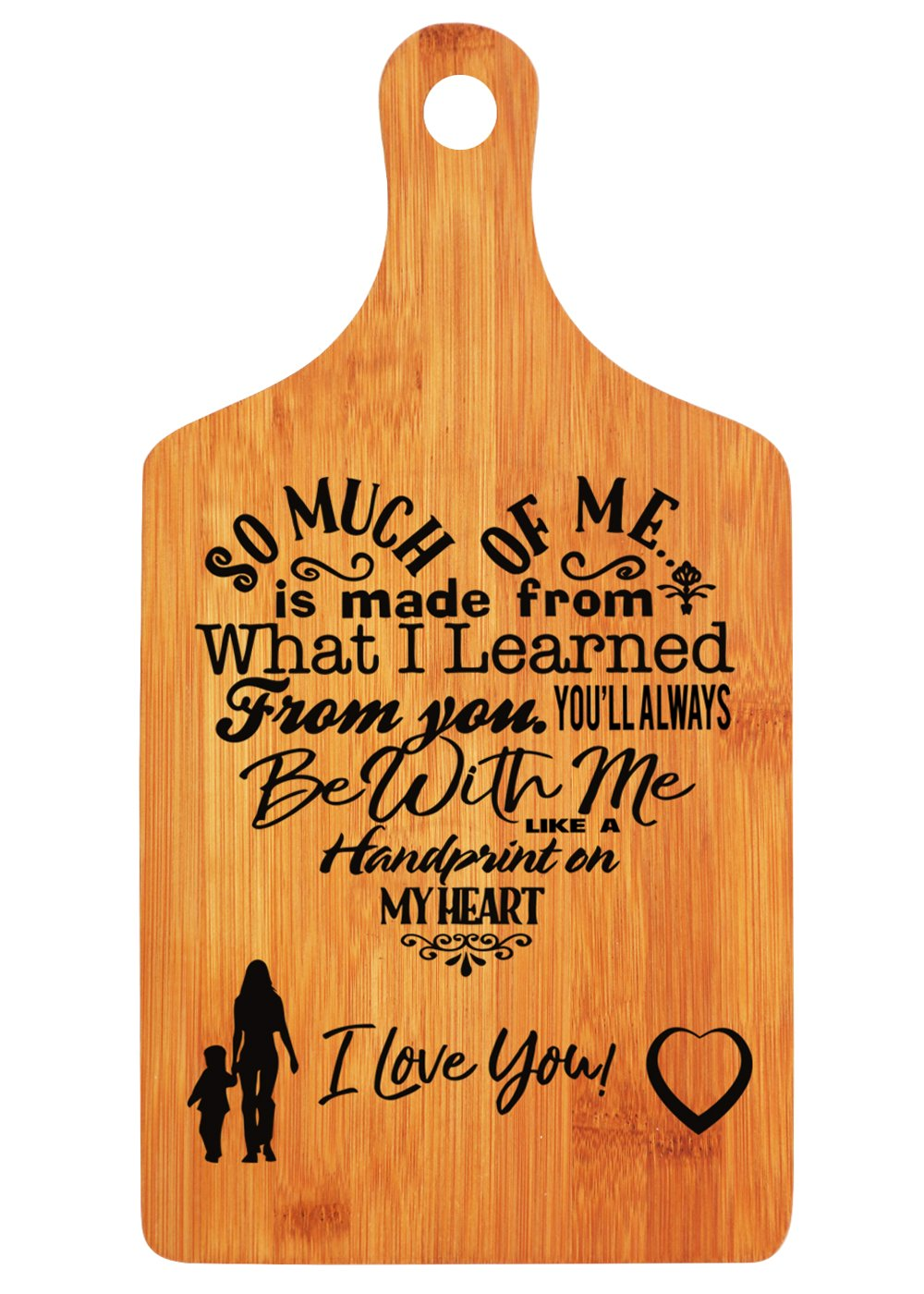 Langxun Mothers Day Gifts Personalized Engraved Bamboo Cutting Board for Mothers Birthday Gift, Mon and Grandma Gift