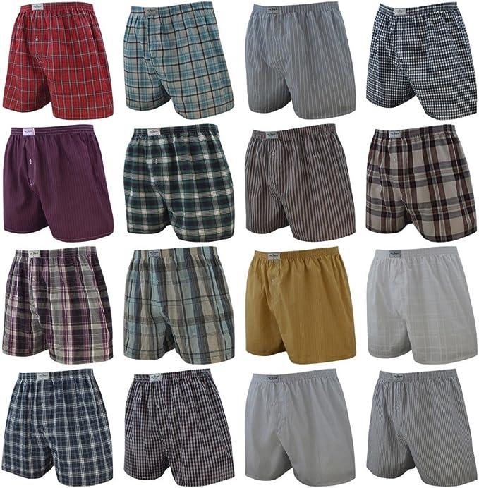 TALLA XXL. 4 Pack Hombres Calzoncillos Cuadros de tono Liso y De rayas varios colores