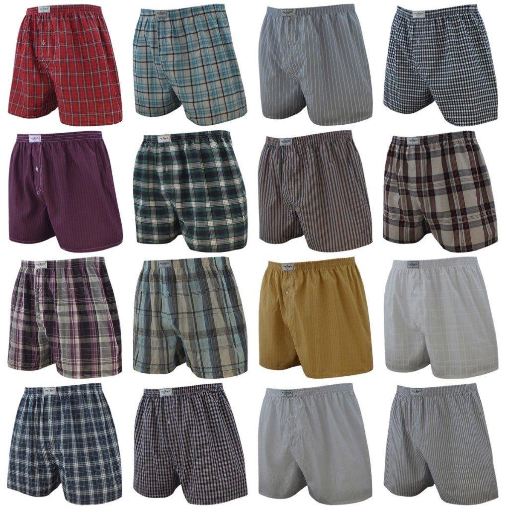 4 Pack Hombres Calzoncillos Cuadros de tono Liso y De rayas varios colores