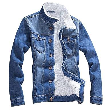 ZKOO Hombre Forrado de Franela Chaqueta De Vaquero Calentar Chaqueta De Mezclilla Jean Denim Jacket Otoño e Invierno: Amazon.es: Ropa y accesorios