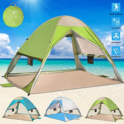 Blue//Green Outdoors Beach Tent Shelter with Inner Pockets Carrying Pouch UPF 50