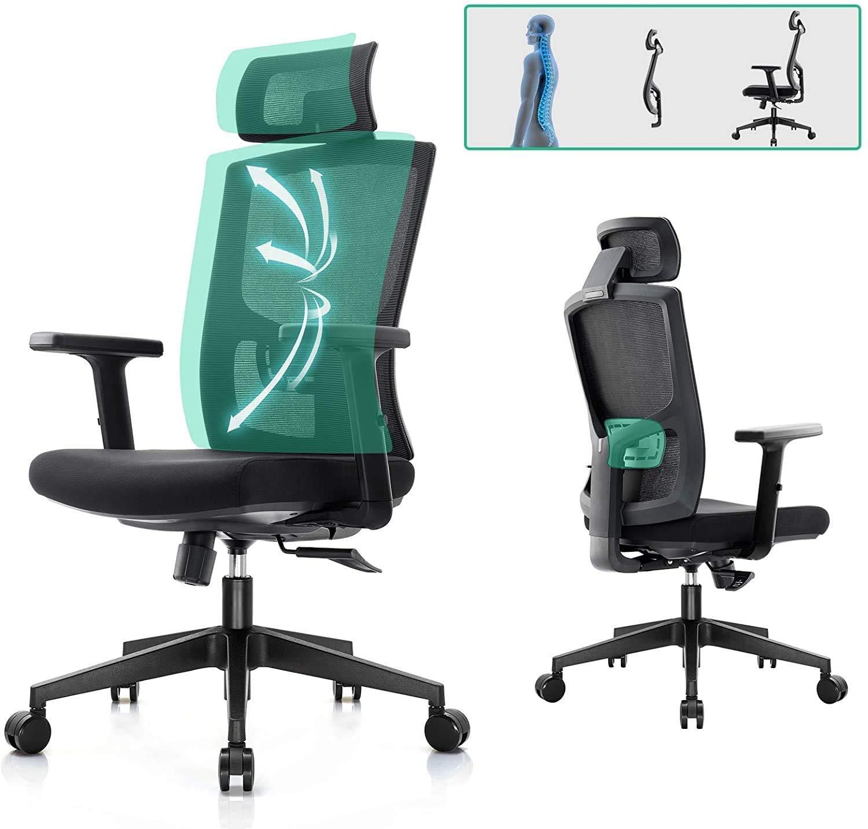 Komene Ergonomiczne krzesło biurowe z siatką z regulowanymi podłokietnikami zagłówek podparcie lędźwiowe wysokie oparcie biurko komputerowe do domu i biura czarne