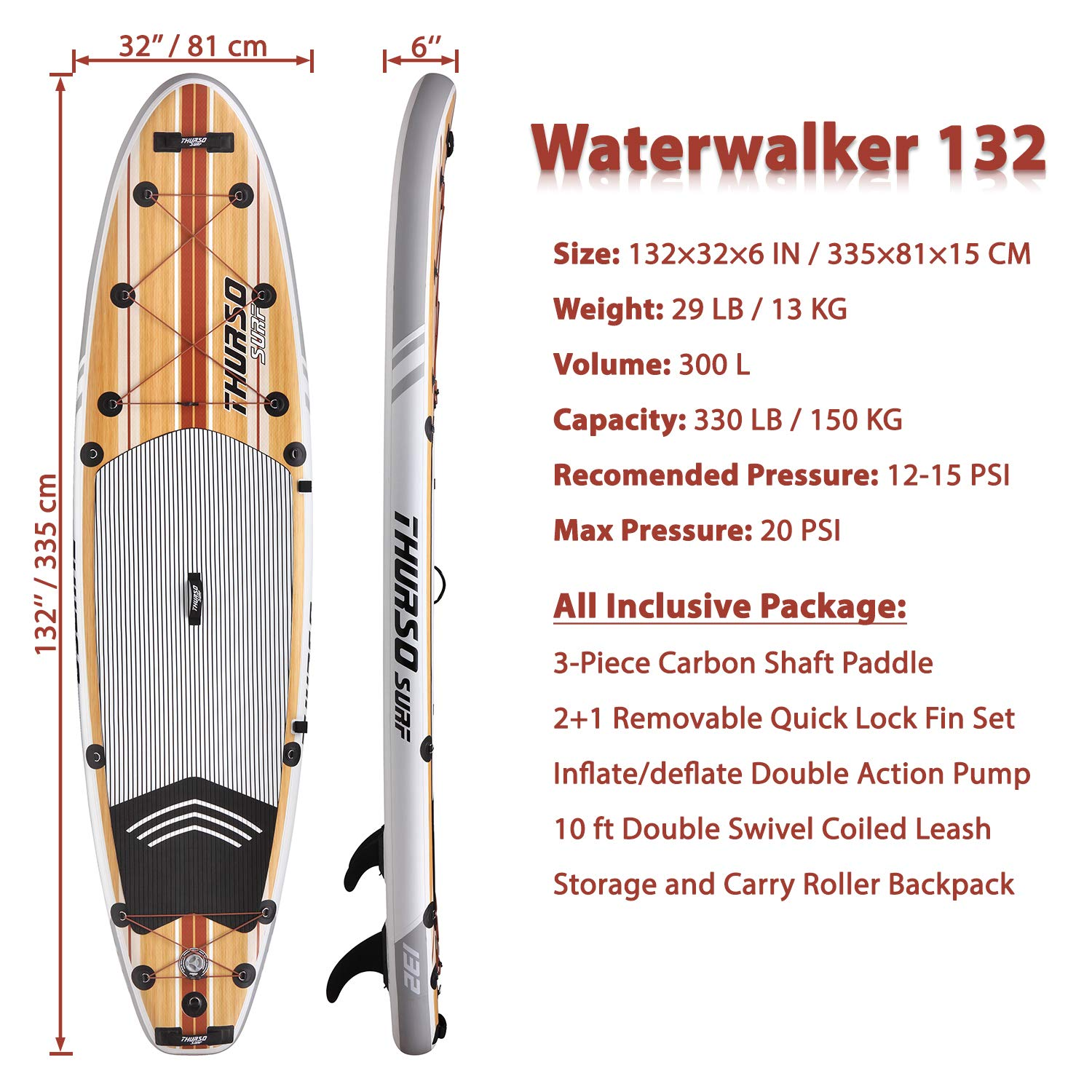 THURSO SURF Tabla Paddle Surf Hinchable Waterwalker 305/320/335 cm de Largo 15 cm de Grosor de Dos Capas Deluxe Incluye Remo con Eje de Carbono/2+1 ...