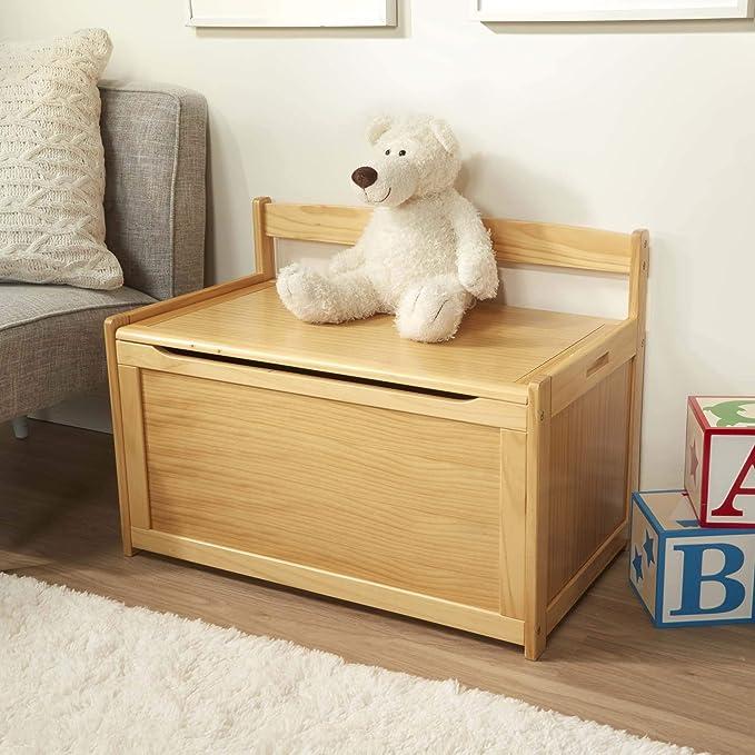 Toy Box Chest Large Wooden Storage Blanket Lid Grey Oak Childrens Kids Tidy Bin