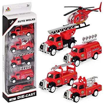 Pull Back And Go Engine Truck Friction Mini Vehicles Car Toy For 3