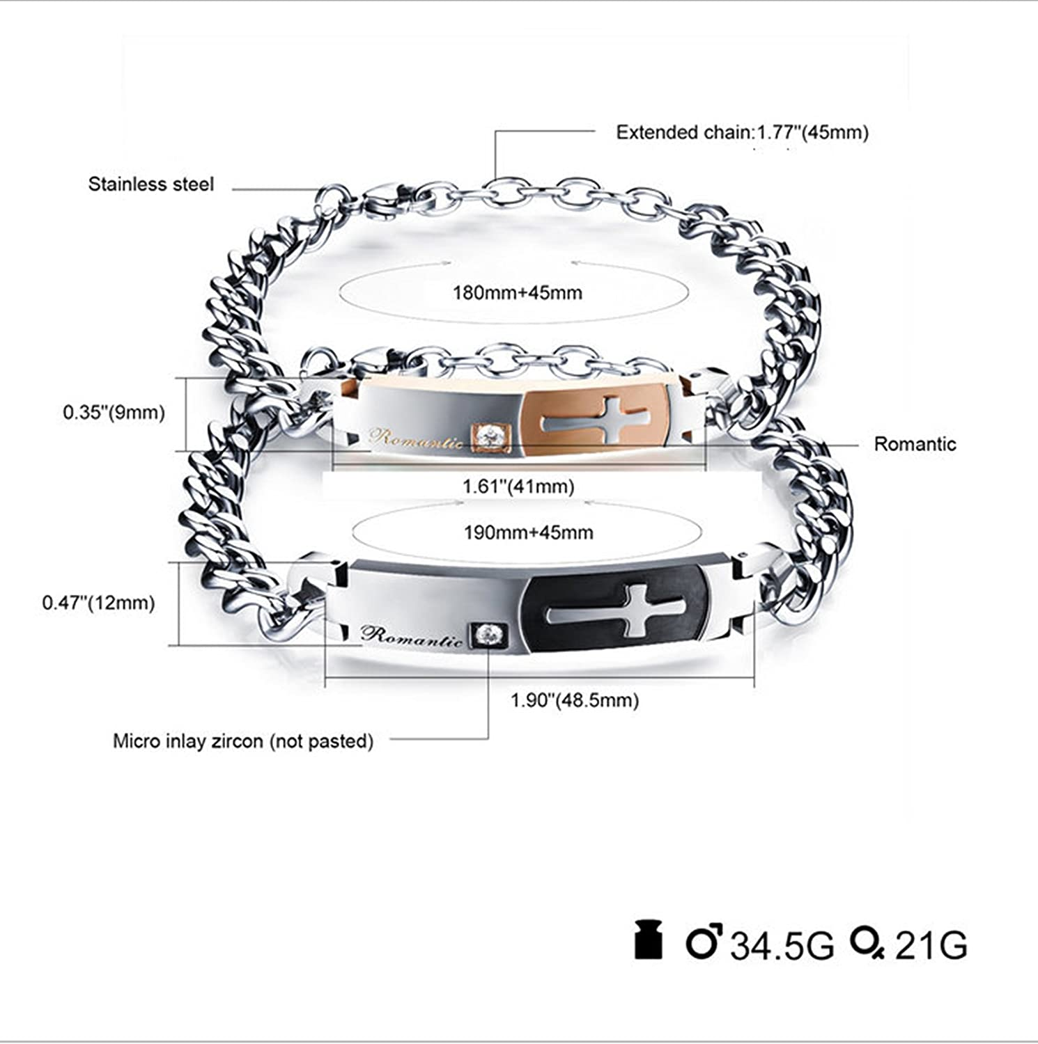 Bishilin Stainless Steel Bracelet for Women Engraving His Beauty Cross with Cubic Zirconia Rose Gold