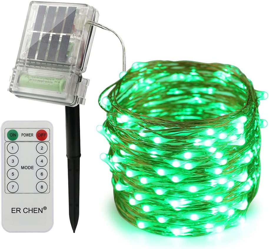 Green 66FT 200 LEDs Copper Wire 8 Modes Decorative Fairy Lights for Outdoor Christmas Garden Patio Yard ErChen Solar Powered Led String Lights with Backup Battery Power and Remote Control