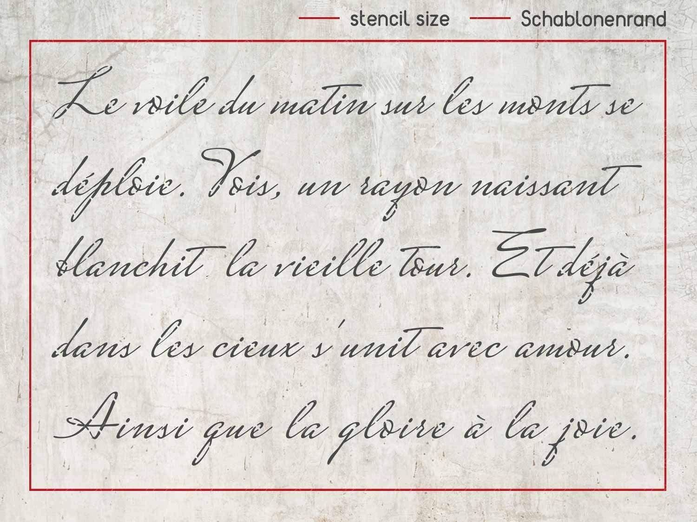 Schablone mit franz/ösischer vintage Schreibschrift
