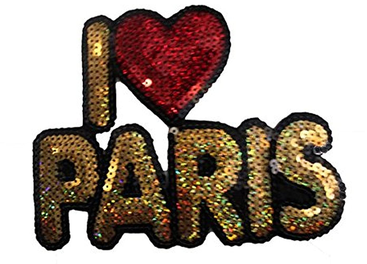Red and Gold I Heart Paris: Sequin Patch ESP38