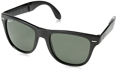 03eb9b855ce Image Unavailable. Image not available for. Color  Ray-Ban Sunglasses -  RB4105 Folding Wayfarer   Frame  Black Lens  Green Polarized